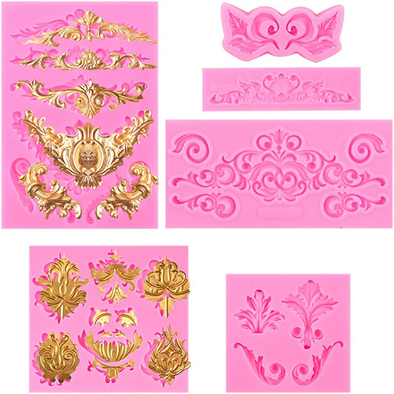 BAKHUK 6pcs Baroque Style Fondant Candy Mold For Dessert Crafts Cake Border Decoration Cupcake Decoration Jewelry Polymer Clay