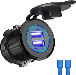 Dual 4.2A USB Car Charger Socket Waterproof Power Car Power Charger Socket Outlet 4.2A Fast Charge Car Charger Adapter for...