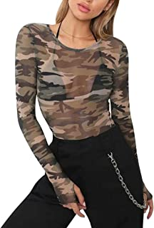 ALLTB Women Sexy Mesh Sheer Tops Camouflage Long Sleeve O Neck Hollow Navel Blouse with Thumb