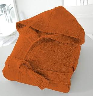 Casabella Uni Sex 100% Cotton 500 Gsm Terry Towelling Hooded Bath Robe Dressing Gown_Orange_Small/Medium