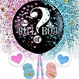 Volwco - Globo para fiesta de revelación de género, globo gigante negro con confeti en forma de corazón rosa y azul y juego de calcomanías para baby shower, Letter Printing, 37 PCS