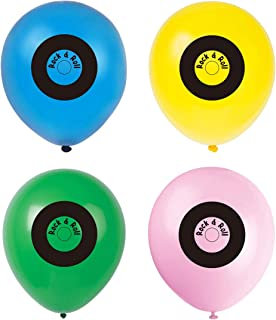 50s Records Streamer balloons, 1950s themed birthday party decorations, supplies
