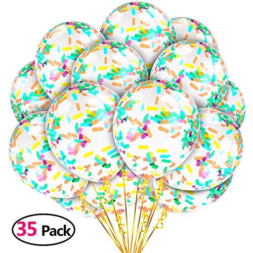 35 Piezas Globo de Fiesta Globos de Confeti de Colores para Decorar Fiesta de Cumpleaños Baby Showers Bodas