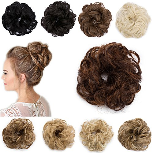Extension Capelli Finti Chignon Elastico Hair Bun Scrunchie Coda Capelli Ricci Messy Curly Updo 30g Castano Ramato Chiaro & Castano Scuro
