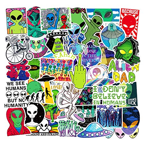 MYOMY Sticker Doodle Waterproof Sticker Pack Alien 50 Pcs Applique Motorized Skateboard Travel Suit Helmet