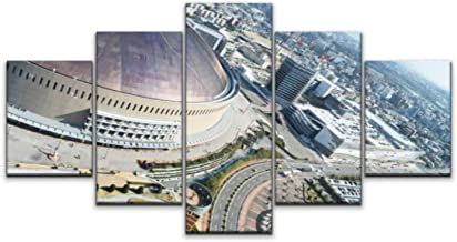 XEPPO 5 Panels Wall Art Print On Canvas Fukuoka Yahoo Dome and City View in Fukuoka Japan Modern Abstract Picture Poster f...