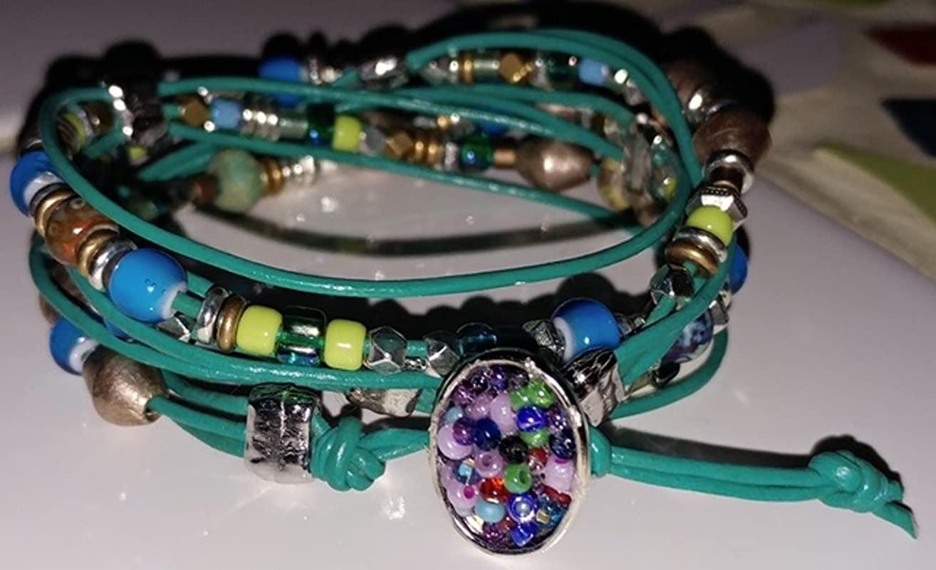 Women's original design 3 wrap sectioned ankle or wrist bracele: teal, blue, green accents and african heishi and bicones