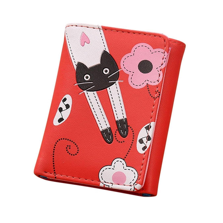 ピーブ支給肝Eldori 可愛い 猫 レディース2つ折り財布 シンプル 猫柄 ラウンドファスナー PUレザー クラッチ財布 多機能 大容量
