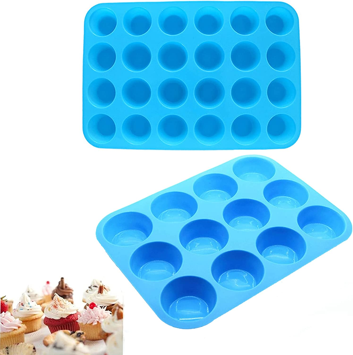 MEKBOK Silicone Mini and service Large Egg 24 Pan All stores are sold Muffin Cupcake 12