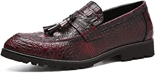 Men Pu Leather Loafers Business Office Shoes Light, Soft, Tough, (Color : Red, Size : 41)