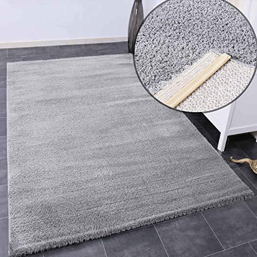 VIMODA Teppich Wohnzimmer in Hell-Grau Flauschig Microfaser Dicht gewebt-Weich, Maße:160x230 cm