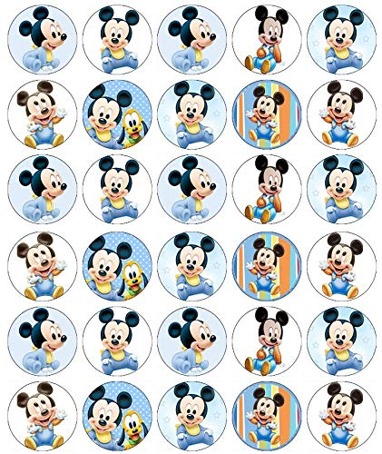 Cupcake-Topper Mickey Mouse, essbares Oblatenpapier, Feen-Motiv, 30 Stück