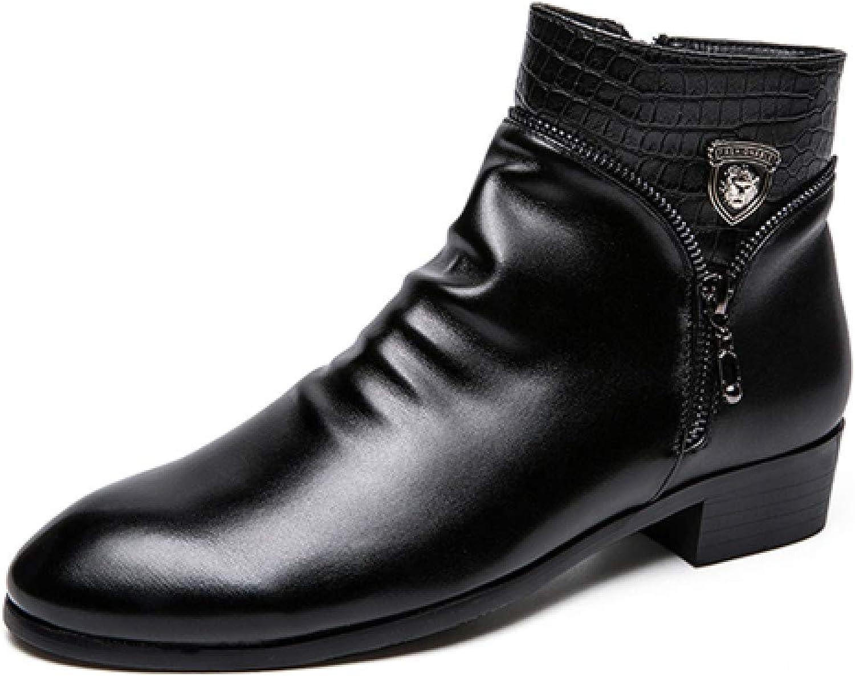FHCGMX modemän Ankle stövlar stövlar stövlar Soft läder Man stövlar Varma Män Winter stövlar svart Comfortable Man Snow stövlar  mode galleria