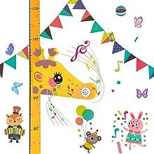 Surplex 3D Righello per Controllo Altezza Con Giraffa da Scrivere Rimovibile Portatile Misurazione magnetica Crescita con carillon e carta da parati a fumetti per bambini Arredamento della camera