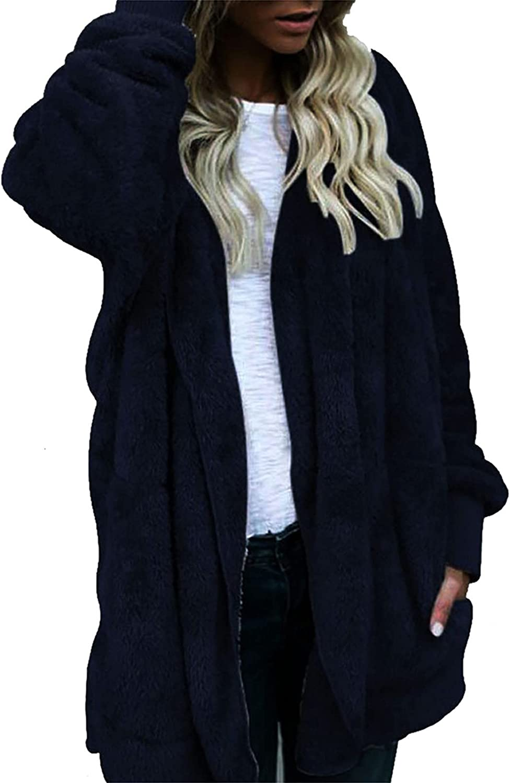 Women's Oversized Fluffy Hoodie Jacket Long Sleeve Zip Up Faux Shearling Coat Winter Fleece Cardigan with Pockets