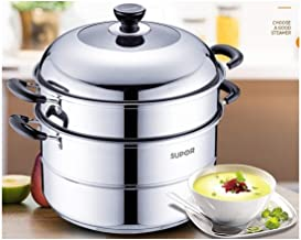 CPWJD 304 Stainless Steel Steamer 2 Layer 30/32cm Large Double Thick Household Gas Stove (Color : Silver, Size : 30cm)