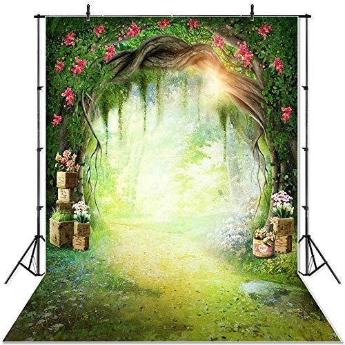 Spring Scenery Backdrop Wonderland Grassland Fairy Tale Forest Children Newborn Mushrooms Elves Flowers Photocall Banner A7 10x7ft/3x2.2m