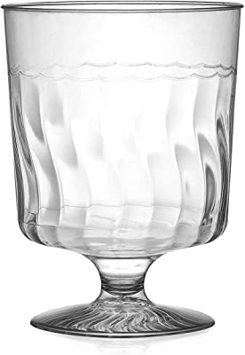 Fineline Settings Flairware Clear 8 Ounce One Piece Wine Glass. Pack of 10