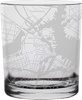Boston City Map Whiskey Glass Massachusetts