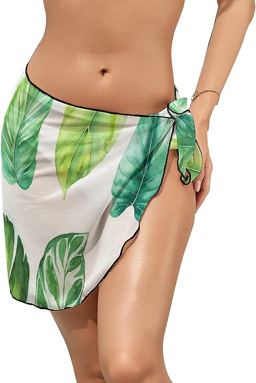 JINJUELS Women Beach Wrap Skirts Watercolor Green Plants Personalized Bikini Swimwear Beach Cover Up
