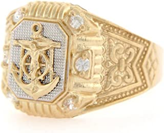 Jewelry Liquidation 10k Two Tone Gold Anchor CZ Fancy Religious Mens Ring