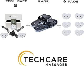 TechCare S Tens Massager Unit Electric Massager Set With 6 Extra Pads + Reflexology Shoes Pain Relief Therapy Back Shoulder Neck Pain, Arthritis, Bursitis, Tendonitis, Sciatica