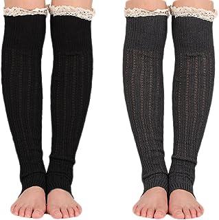 Spring Fever Crochet Lace Trim Cotton Knee High Knit Leg Warmers Boot Socks