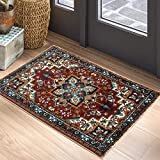 YoKii Persian Oriental Throw Rugs Traditional Medallion Floral Boho 2x3 Small Area Rug Non-Slip Faux Wool Soft Shag Tribal Rug for Kitchen Bedroom Bathroom Entryway Floor Mat Washable (2x3, Red)