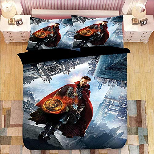XADITON Trendy 3D Duvet Cover Set King Size Motifs Design 230 Cm x 220 Cm Cool movie doctor character 3 pieces Sets Ultra Soft Hypoallergenic Boy girl Cotton Quilt Cover Easy care