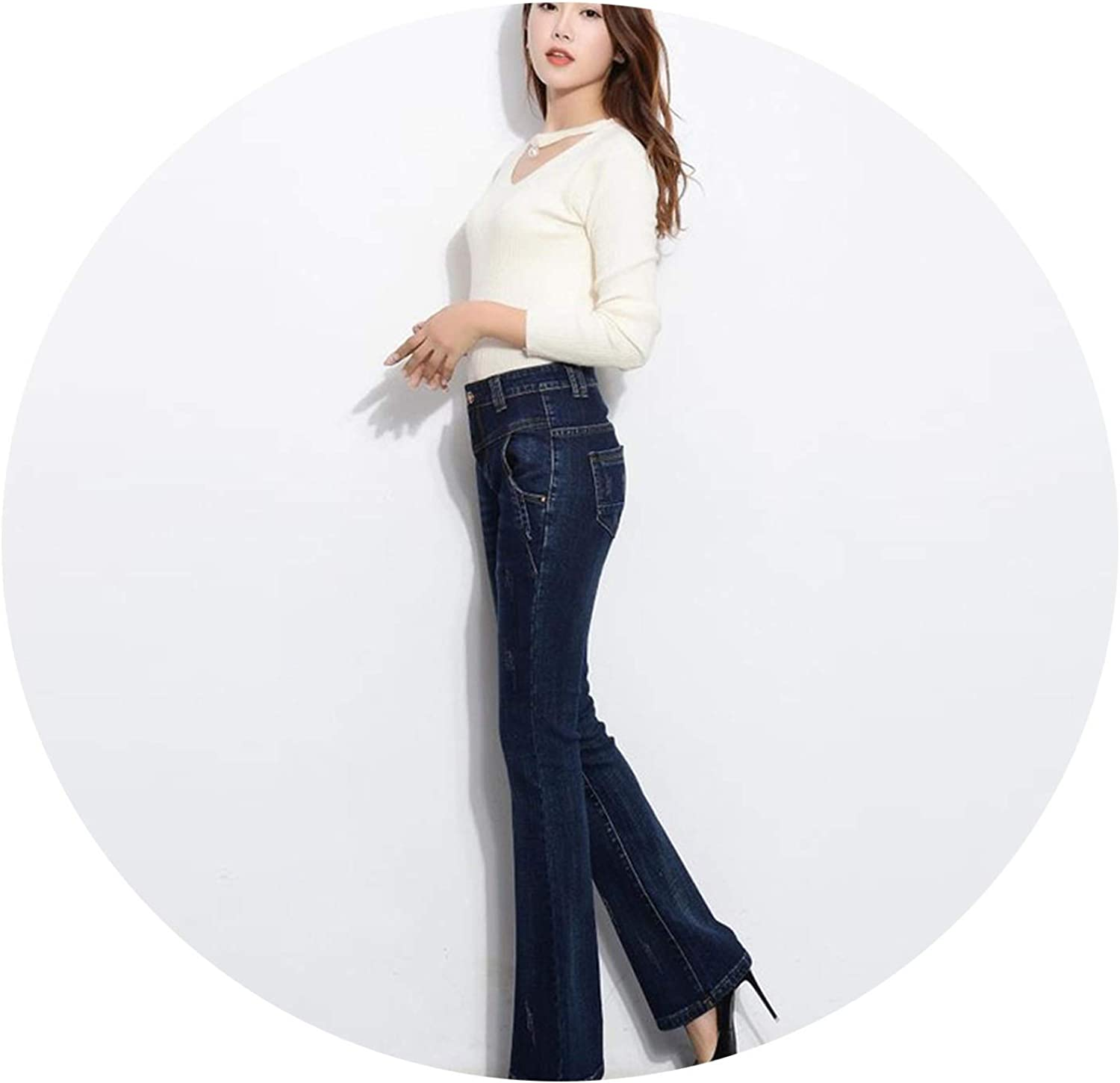 blueeshore Women Vintage Washed Denim Wide Leg Pants Plus Large Size Boot Cut Flare Jeans for Female
