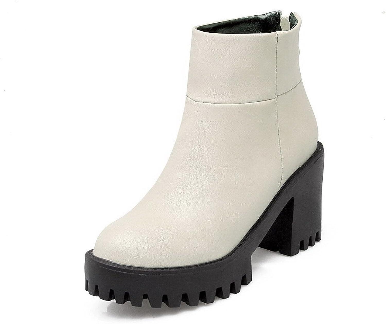 WeenFashion Women's Zipper High-Heels PU Solid Ankle-high Boots