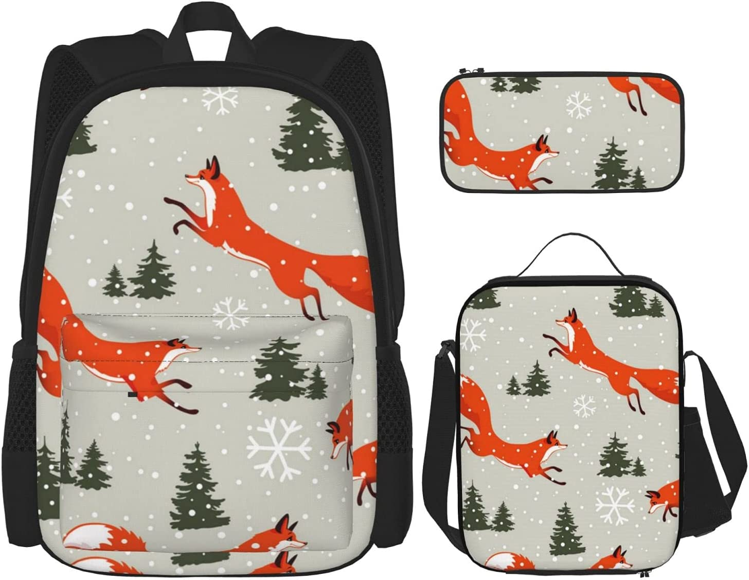 Cute Fox Xmas Tree Snowflake Our shop OFFers the best service Forest Tee Deluxe Colorful School Backpack