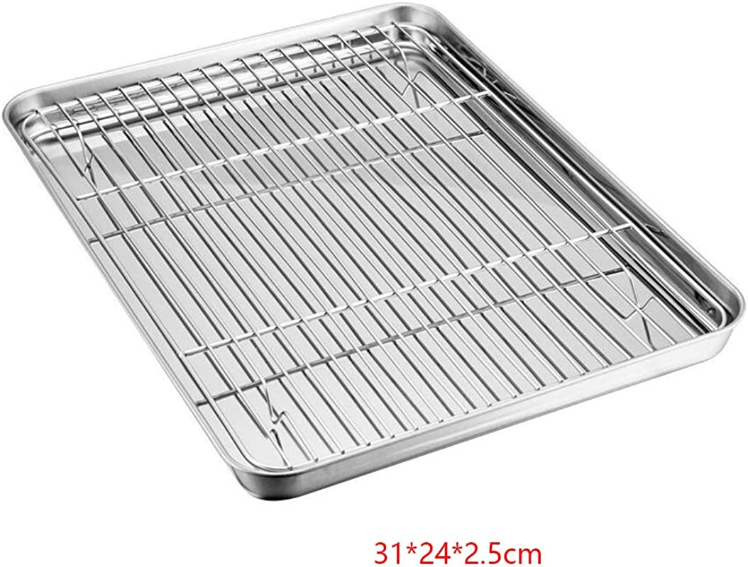 Oven Tray Oil Drain Baking Cooker Cooking Cooling Rack Stainless Steel Grilled Food 31 24 2 5cm