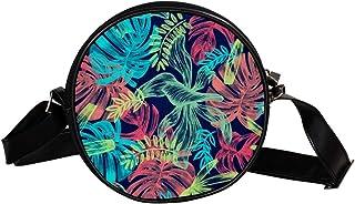 Coosun Umhängetasche mit Blättern, tropisches Bild, rund, Umhängetasche, Handtasche, Handtasche, Umhängetasche, für Kinder...