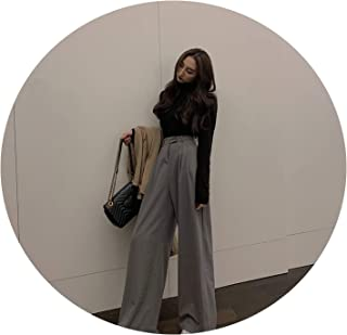 2019 Spring Autumn Female Solid Wide Leg Pants Ladies Simple Casual Straight Pants