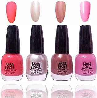Makeup Mania Premium Nail Polish Exclusive Nail Paint Combo (Pink, Silver, Brown, Pack of 4)