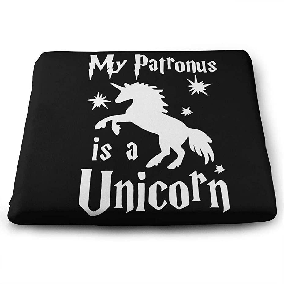 弱めるオンスーツケース低反発座布団クッション スクエアタイプ/ベロアタイプMy Patronus Is An Unicorn 【体圧分散効果/優しい座り心地/ノンスリップ加工】座布団