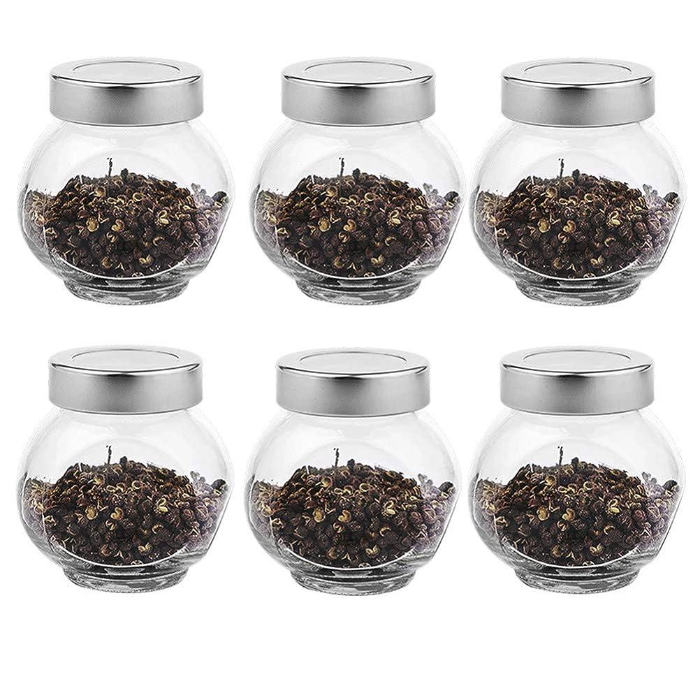 シングルほこりっぽい高い6つの透明ガラス貯蔵容器茶/季節密封缶(200 ml)の貯蔵ジャーパック
