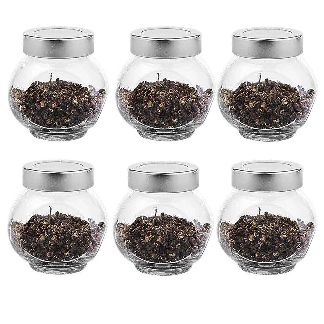 ボート逃れる解釈する6つの透明ガラス貯蔵容器茶/季節密封缶(200 ml)の貯蔵ジャーパック