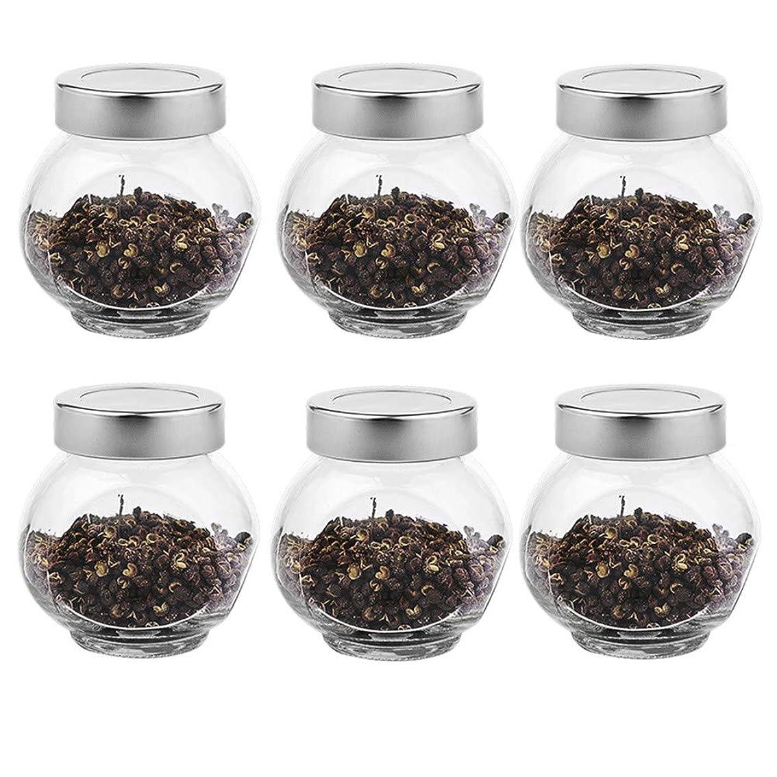 拡散する検出シード6つの透明ガラス貯蔵容器茶/季節密封缶(200 ml)の貯蔵ジャーパック