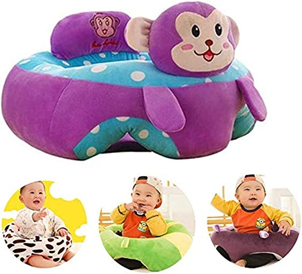 Iddefee Learn Sit Sofa Baby Support Seat Sofa Plush Chair Colorful Infant Learning Sitting Seat Chair Portable Feeding Chair Pillow Cartoon Monkey Shaped Children Plush Toy Purple Baby Support Seat