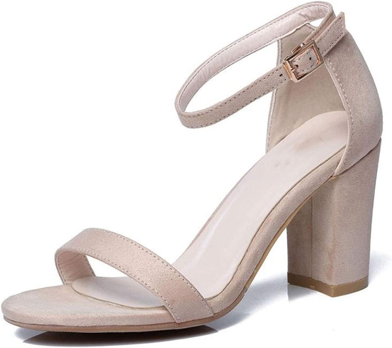 High Heel Sandals Ankle Strap Solid color Thick Heel Sandals Summer shoes Elegant Wedding shoes