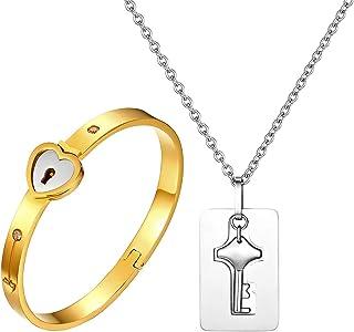 JewelryWe Gioielli Bracciale e Collana da Uomo Donna 2pezzi Acciaio Inossidabile Amore Cuore Serratura Bracciale & Chiave ...