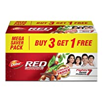 Dabur Red Paste – India's No.1 Ayurvedic Paste, Provides Protection Plaque Removal, Toothache, Yellow Teeth, Bad Breath- 600g (150gm*4)