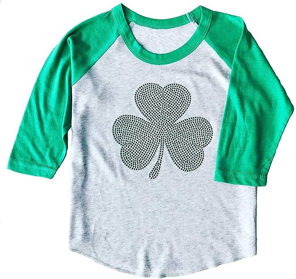 SoRock Toddler & Youth & Kids ST. Patrick's Day Studded Shamrock 3/4 Sleeve Raglan T-Shirt