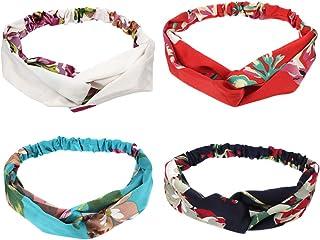 CCINEE Headbands for Women, Floral Colors Headbands Elastic Hair Bands Hair Wrap Hair Accessories-4Pieces