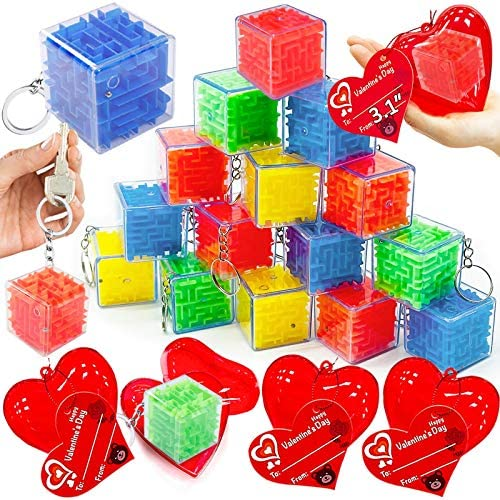AMENON 28 Pack 3D Maze Puzzle Toys Valentines Gifts for Kids 3 1 Giant Heart Filled Keychain product image