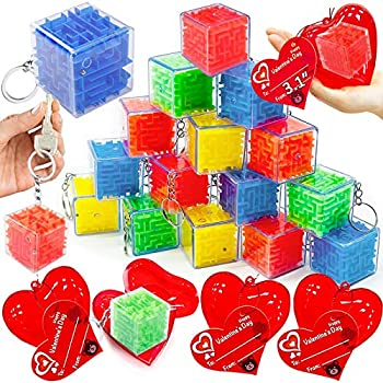 AMENON 28 Pack 3   Giant Heart Filled Maze Ball Puzzle Fidget Toys Cards Valentines Party Favors Kids Cube Keychain Sensory Toy Kids Valentines Gifts Classroom School Exchange Boys Girls Game Prizes
