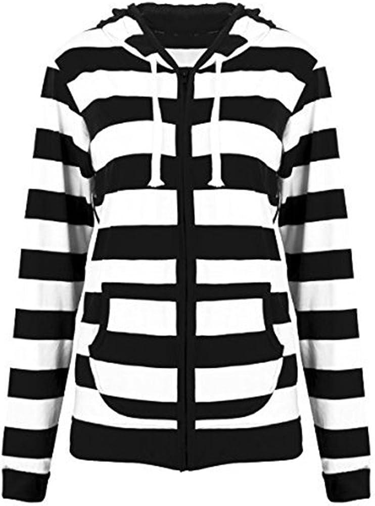 Women Casual Lightweight Sweatshirts Long Sleeve Zipper Striped Hoodies
