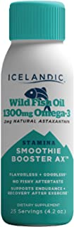 Icelandic Wild Fish Oil Liquid, Stamina Smoothie Booster 1300mg Omega 3, 2mg Astaxanthin, Flavorless, Keto Friendly, Glute...